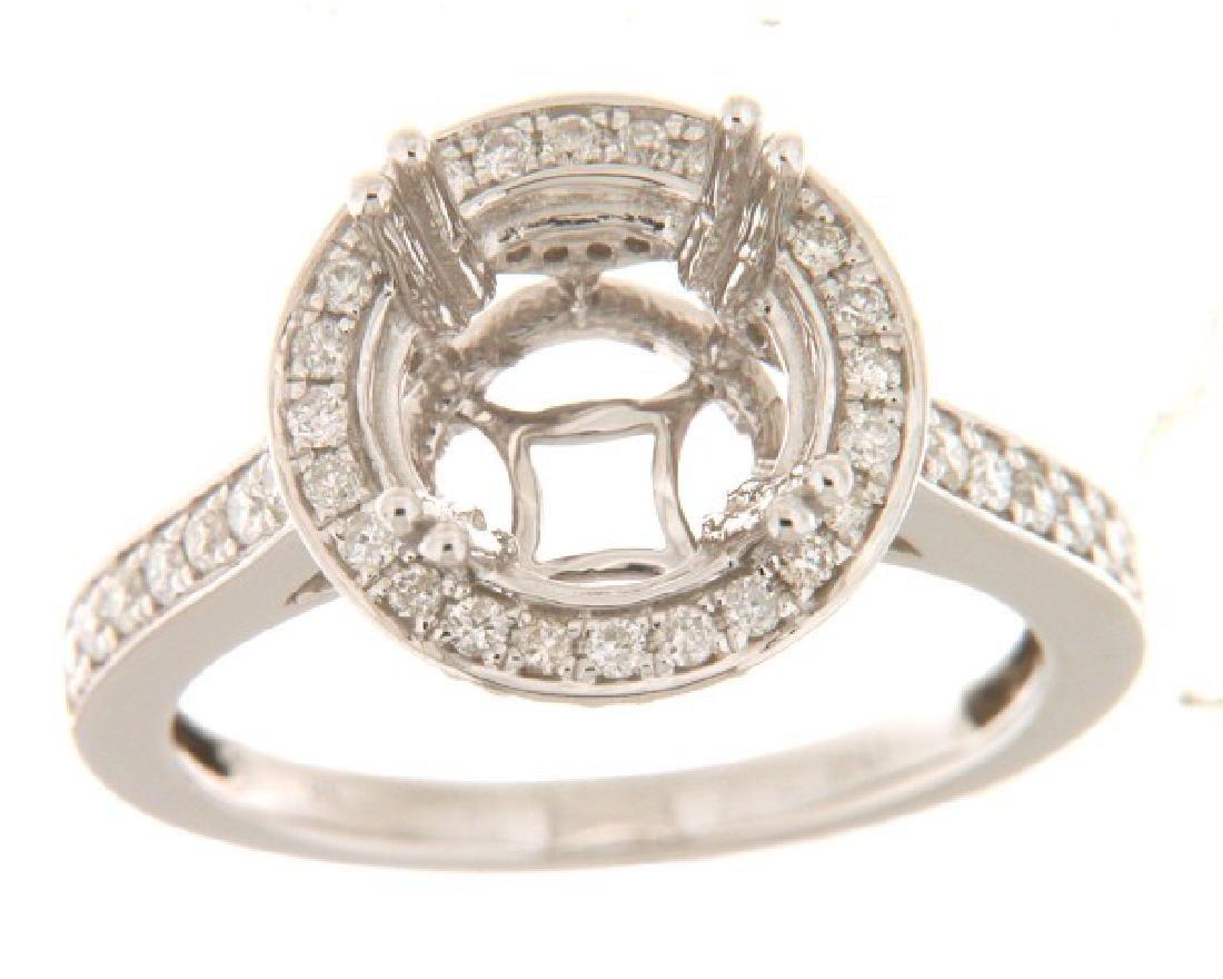 0.63 CTW Diamond Semi Mount Ring 14K White Gold -