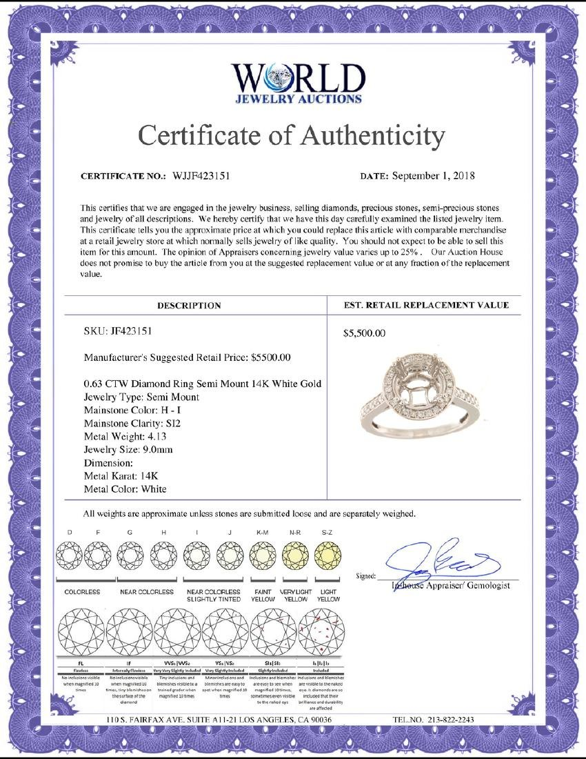 0.63 CTW Diamond Semi Mount Ring 14K White Gold - - 2