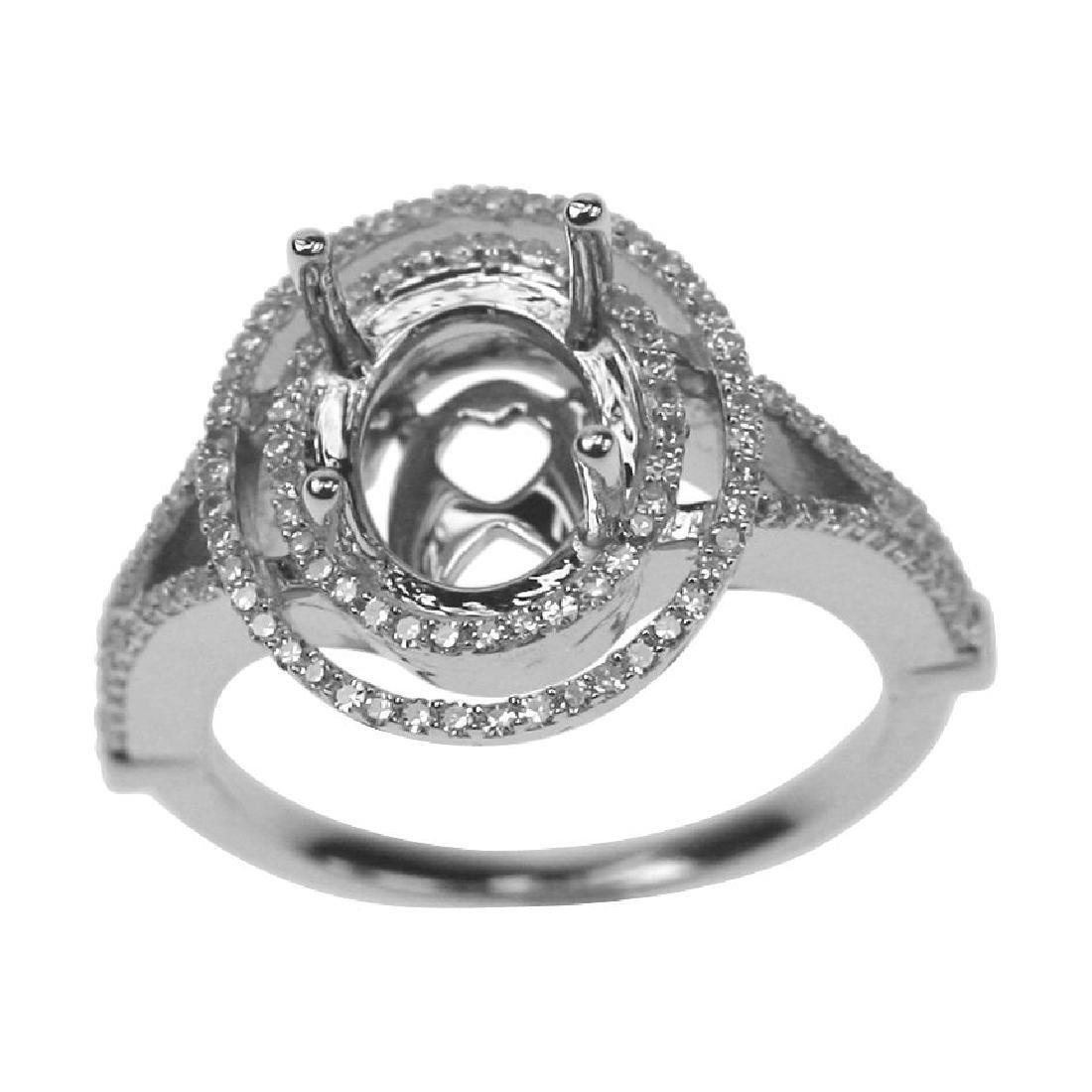 0.44 CTW Diamond Semi Mount Ring 14K White Gold -