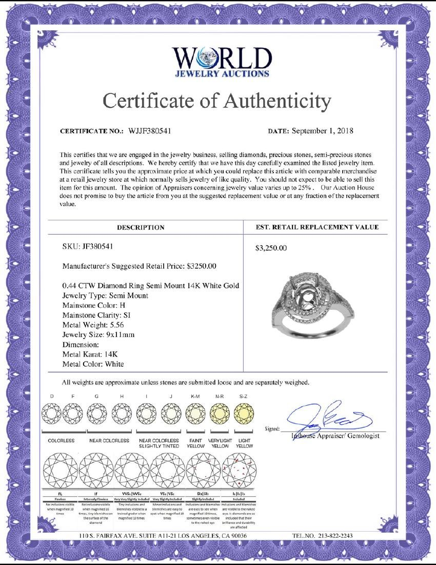 0.44 CTW Diamond Semi Mount Ring 14K White Gold - - 2