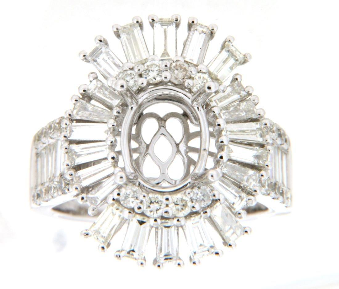 2.65 CTW Diamond Semi Mount Ring 14K White Gold -