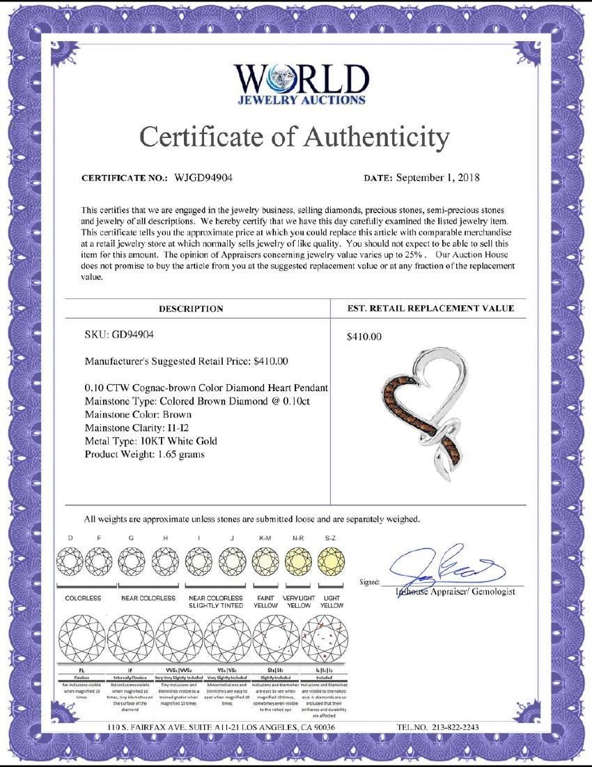 0.10 CTW Cognac-brown Color Diamond Heart Love Pendant - 2