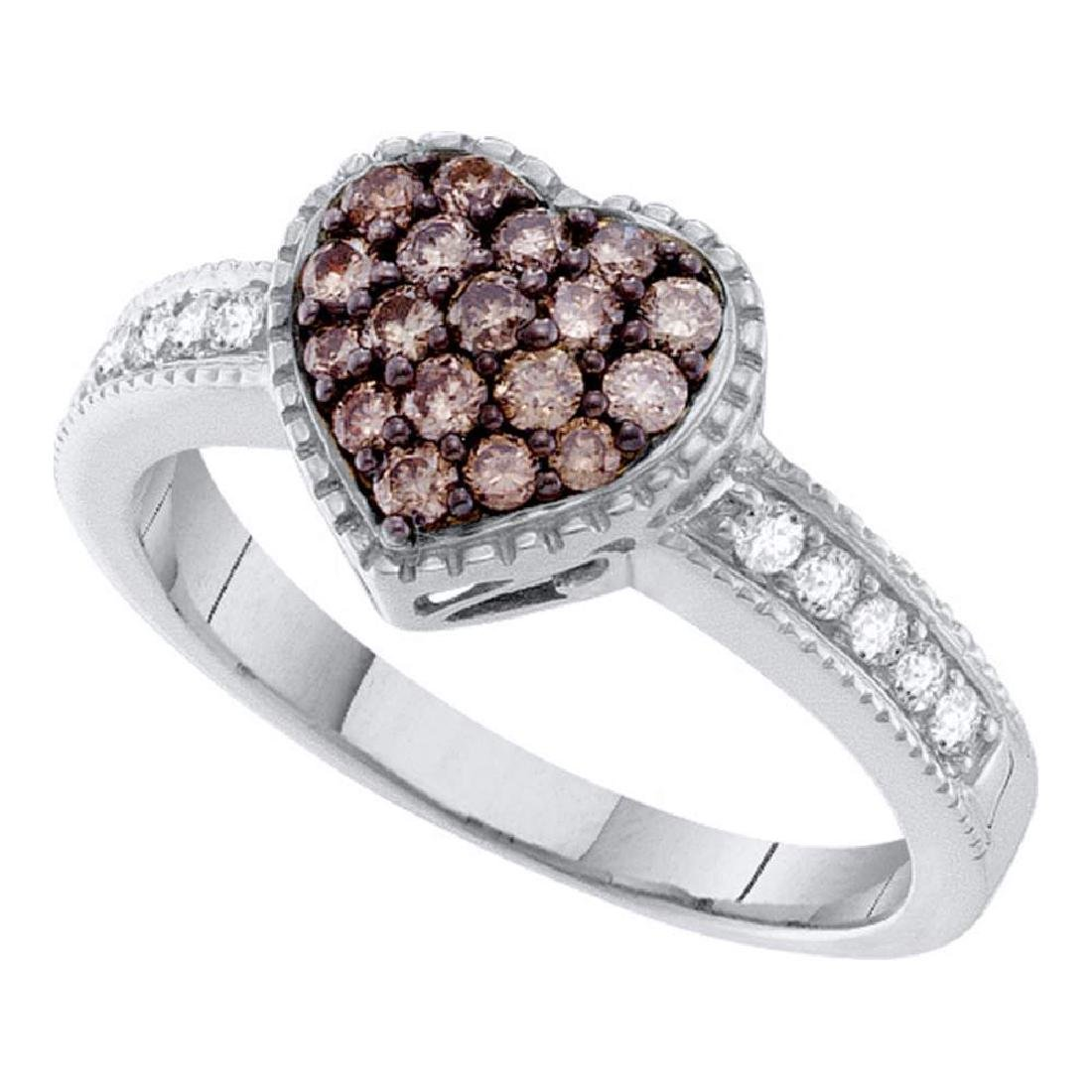 0.45 CTW Cognac-brown Color Diamond Heart Cluster Ring