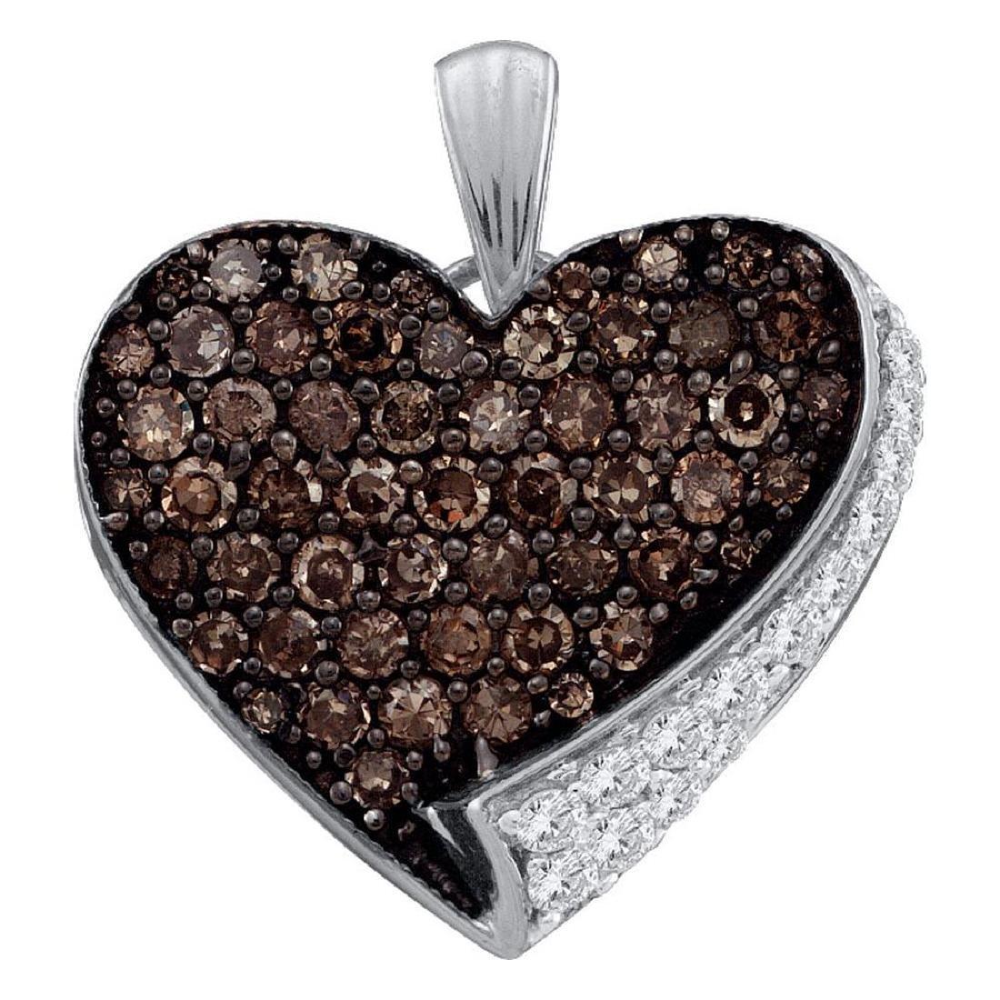 0.85 CTW Cognac-brown Color Diamond Heart Love Pendant