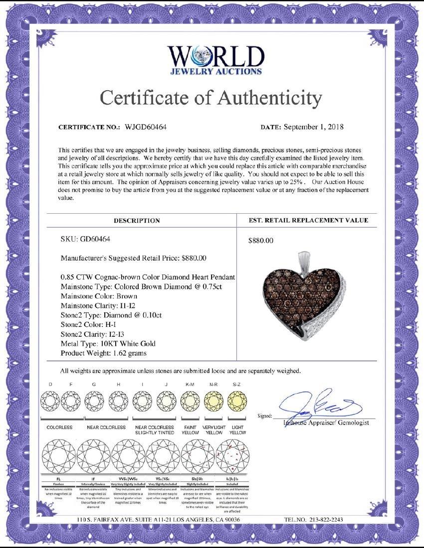 0.85 CTW Cognac-brown Color Diamond Heart Love Pendant - 2