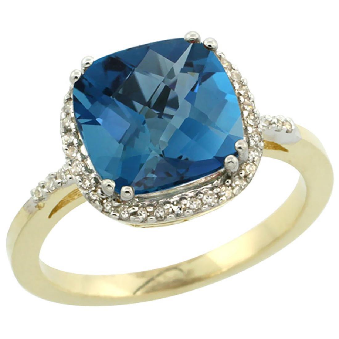 Natural 4.11 ctw London-blue-topaz & Diamond Engagement