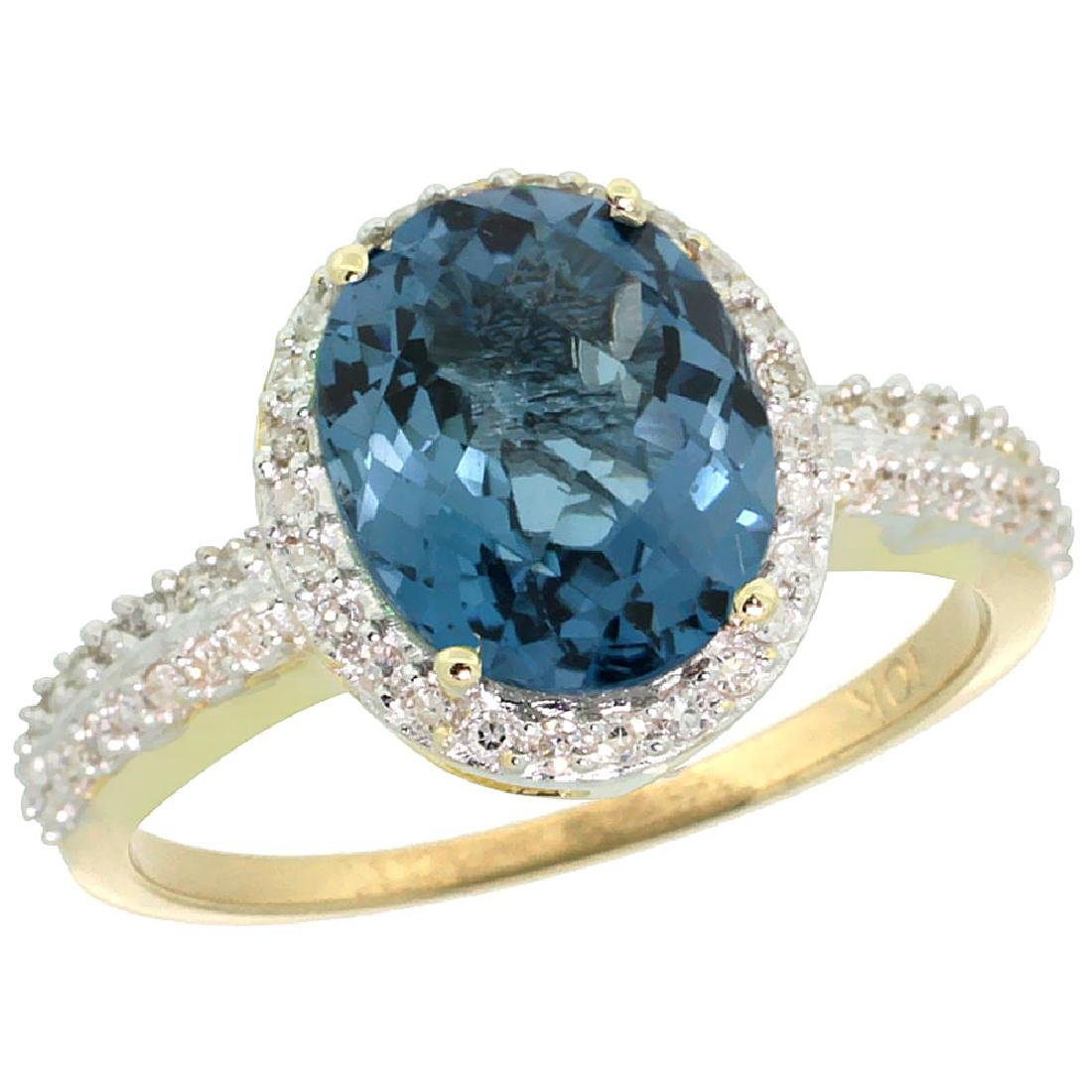 Natural 2.56 ctw London-blue-topaz & Diamond Engagement