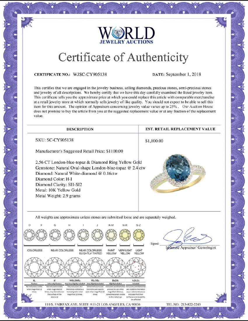 Natural 2.56 ctw London-blue-topaz & Diamond Engagement - 2