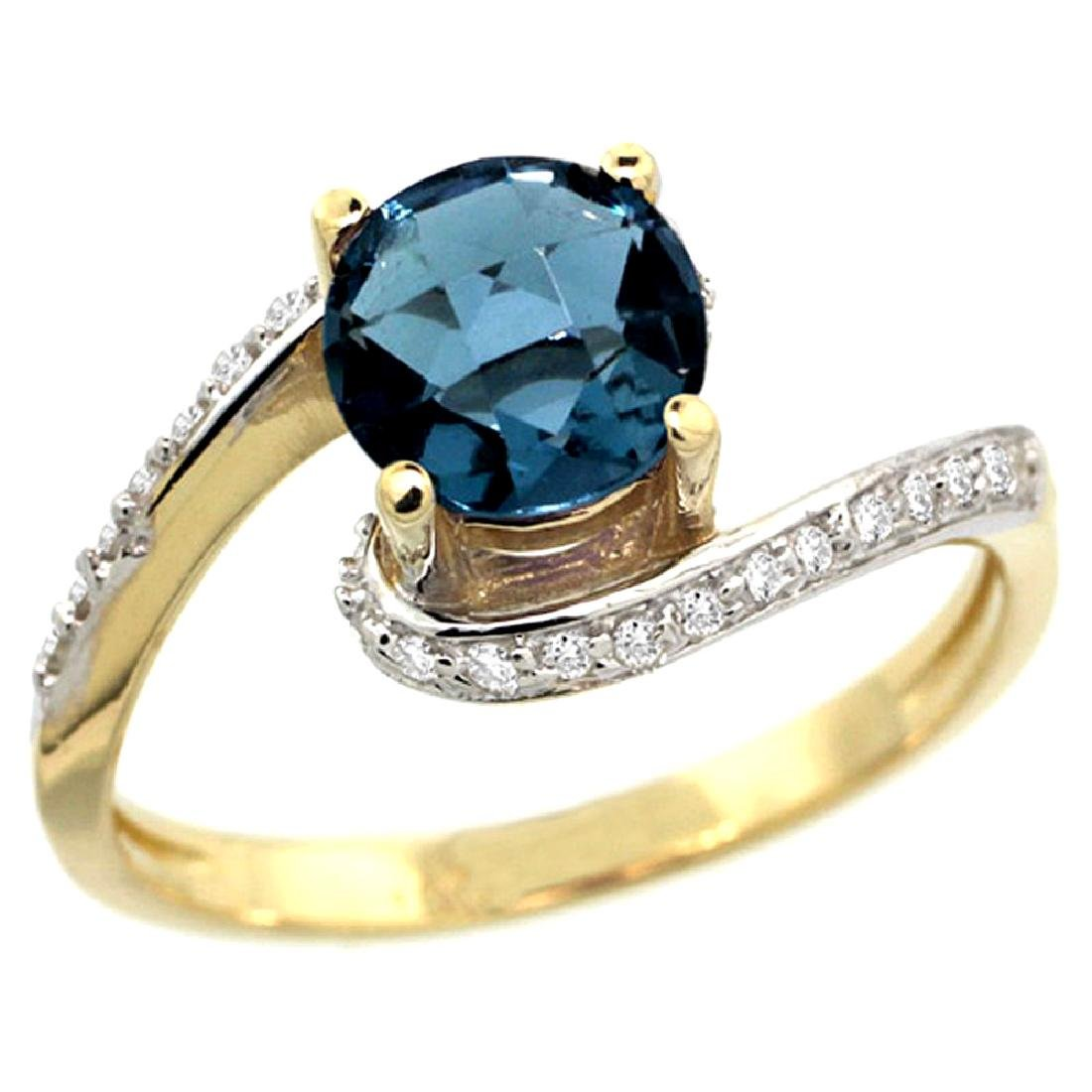 Natural 1.24 ctw london-blue-topaz & Diamond Engagement