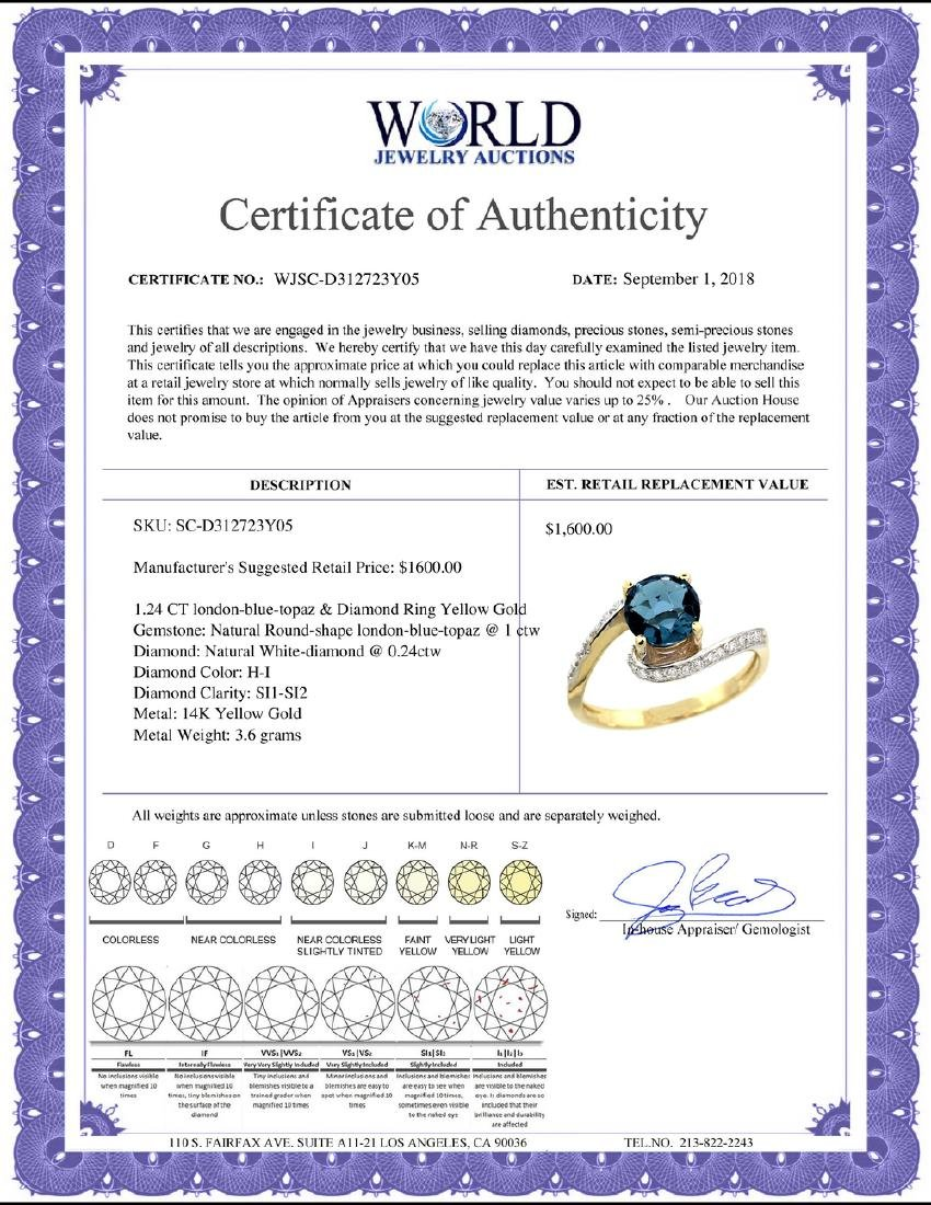 Natural 1.24 ctw london-blue-topaz & Diamond Engagement - 2
