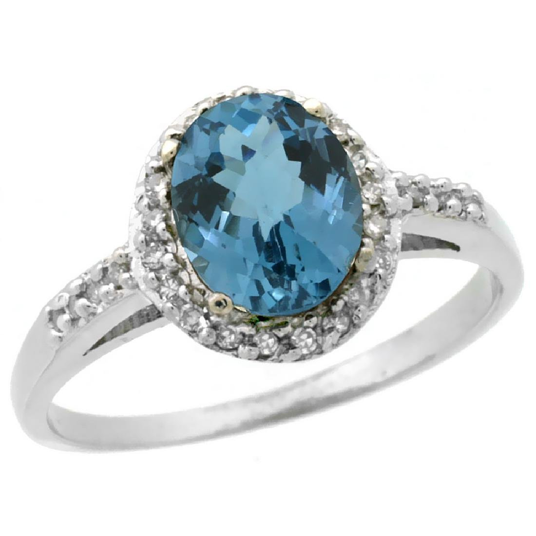 Natural 1.3 ctw London-blue-topaz & Diamond Engagement