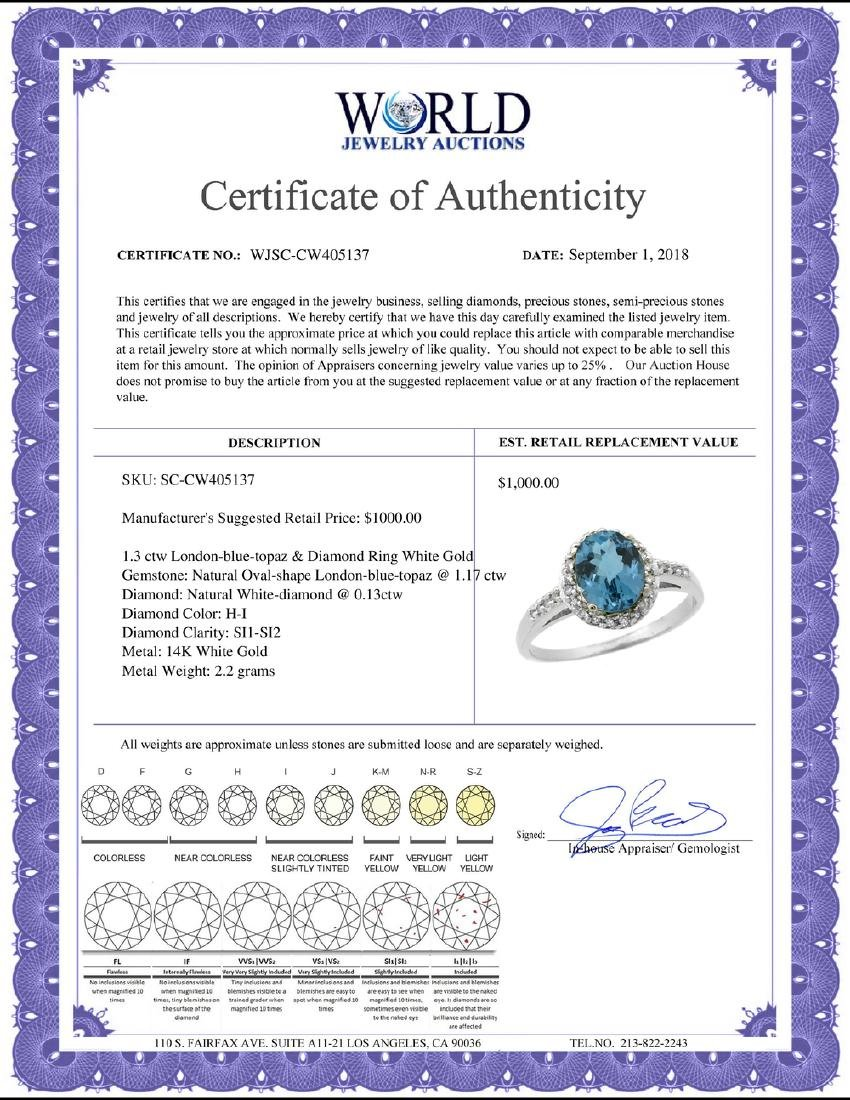 Natural 1.3 ctw London-blue-topaz & Diamond Engagement - 2