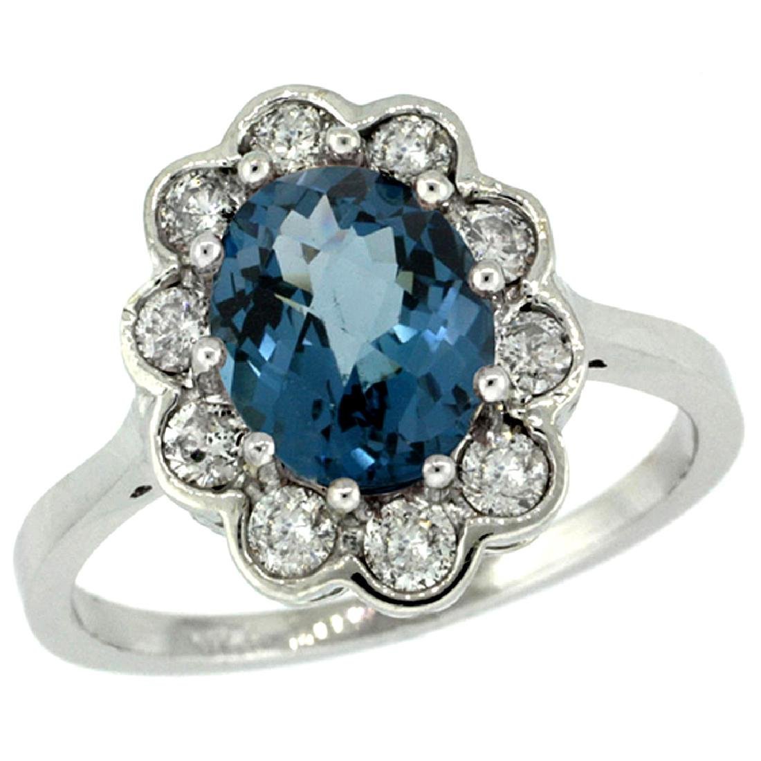 Natural 2.34 ctw London-blue-topaz & Diamond Engagement