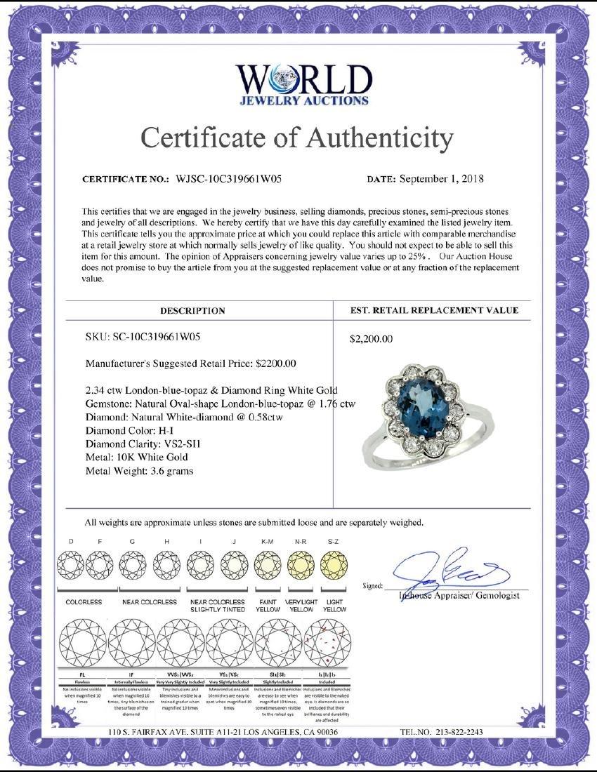 Natural 2.34 ctw London-blue-topaz & Diamond Engagement - 2