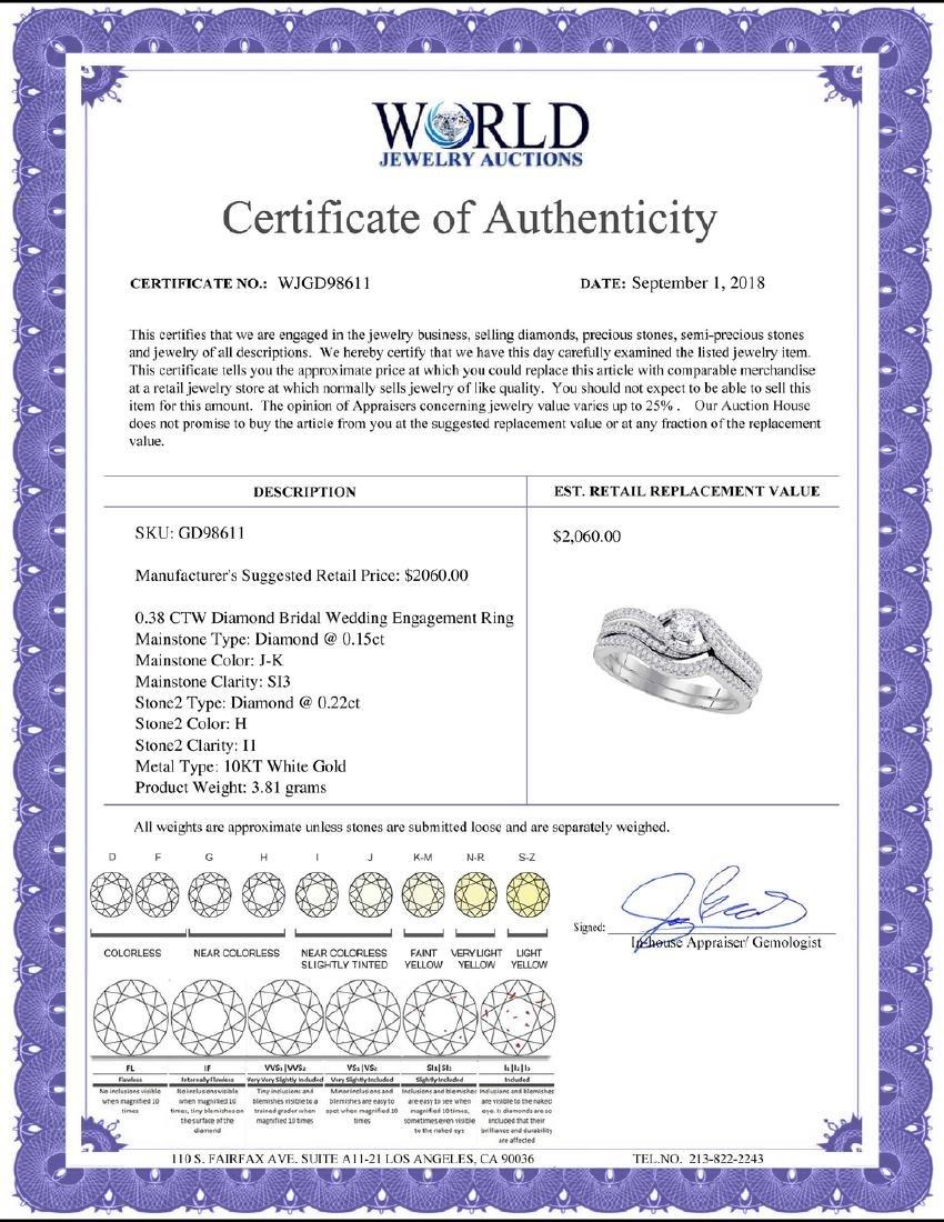 0.38 CTW Diamond Bridal Wedding Engagement Ring 10KT - 2
