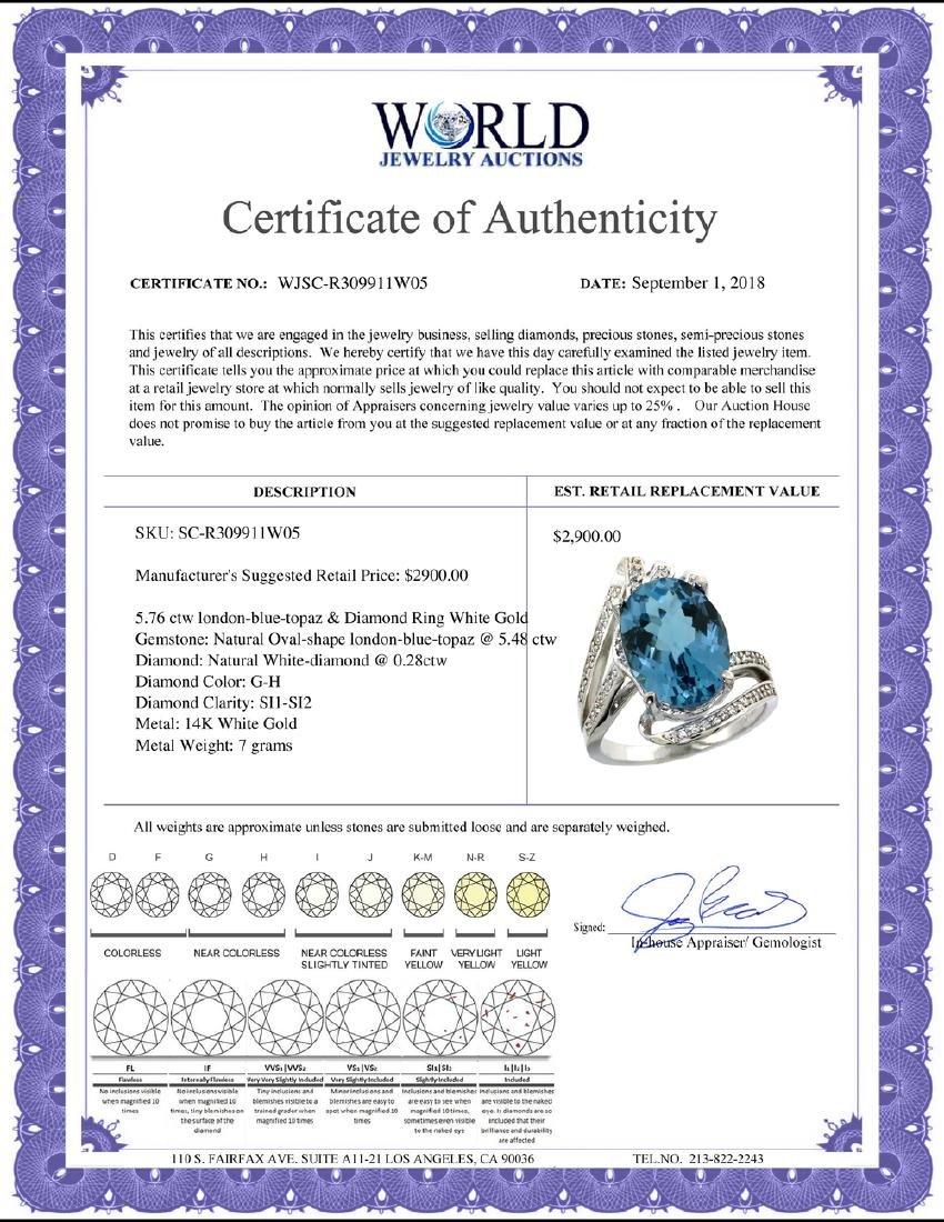 Natural 5.76 ctw london-blue-topaz & Diamond Engagement - 2
