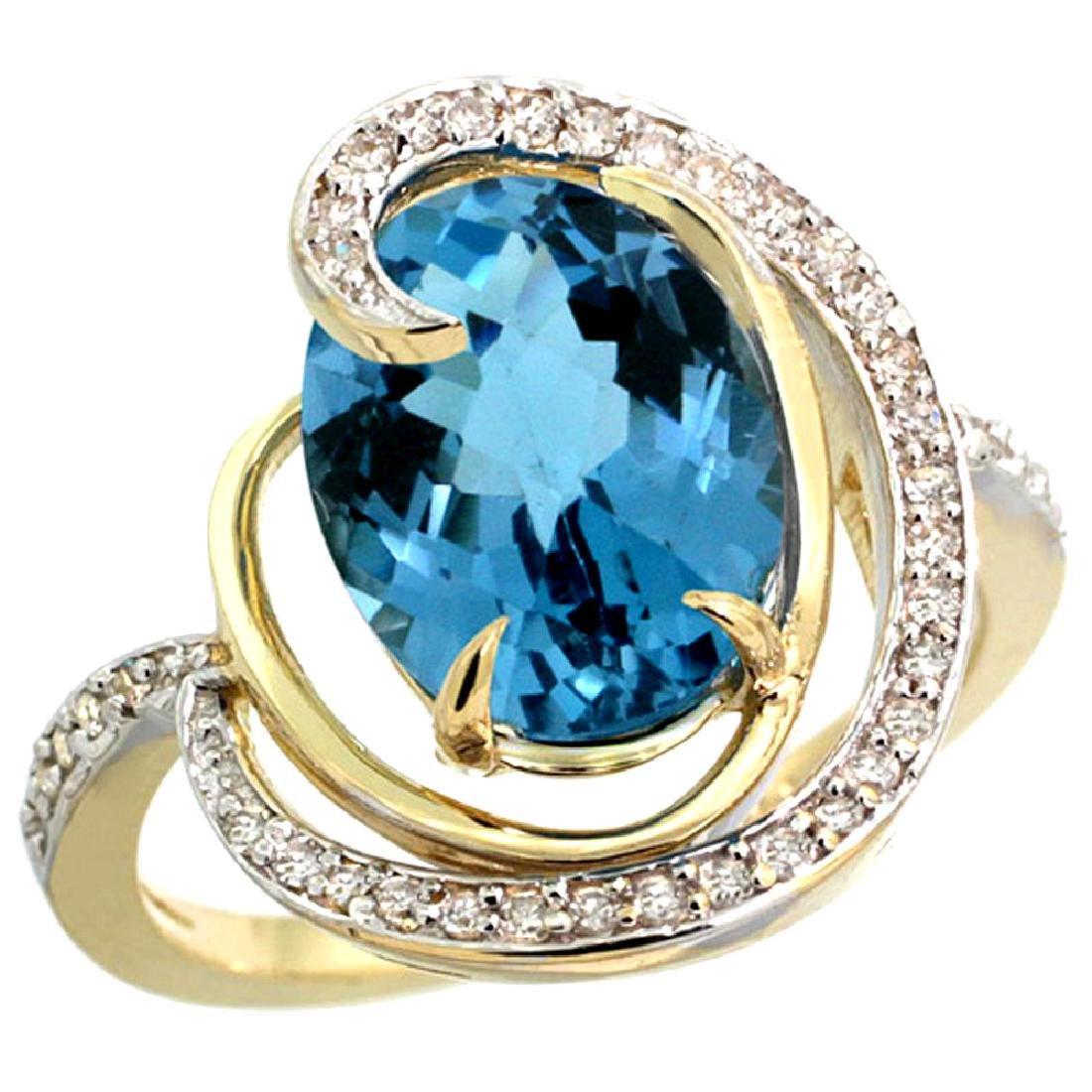 Natural 6.53 ctw london-blue-topaz & Diamond Engagement