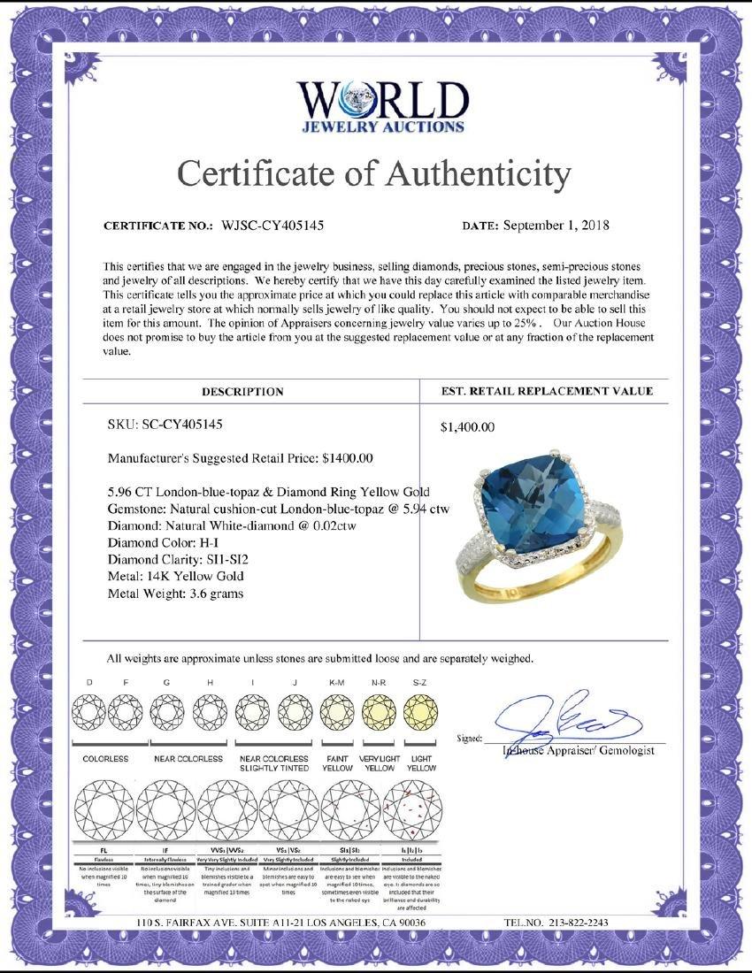 Natural 5.96 ctw London-blue-topaz & Diamond Engagement - 2
