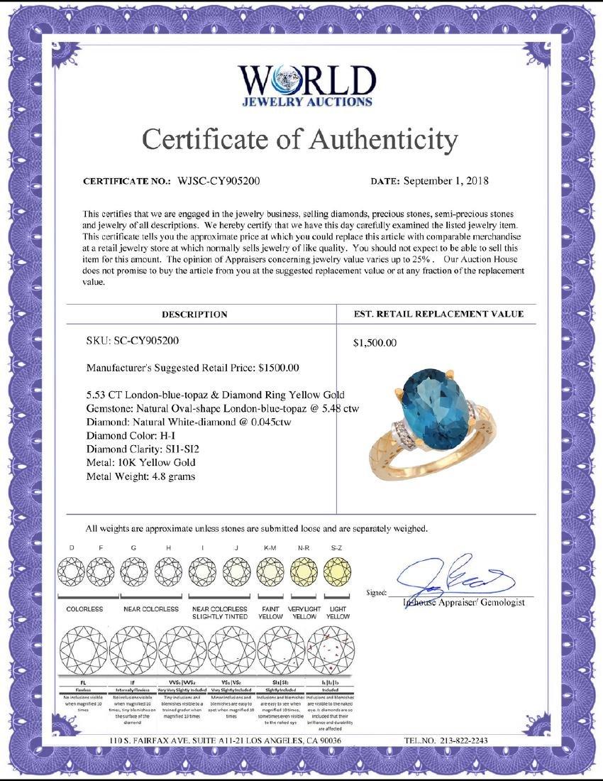 Natural 5.53 ctw London-blue-topaz & Diamond Engagement - 2