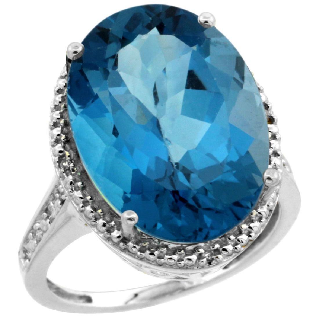 Natural 13.6 ctw London-blue-topaz & Diamond Engagement