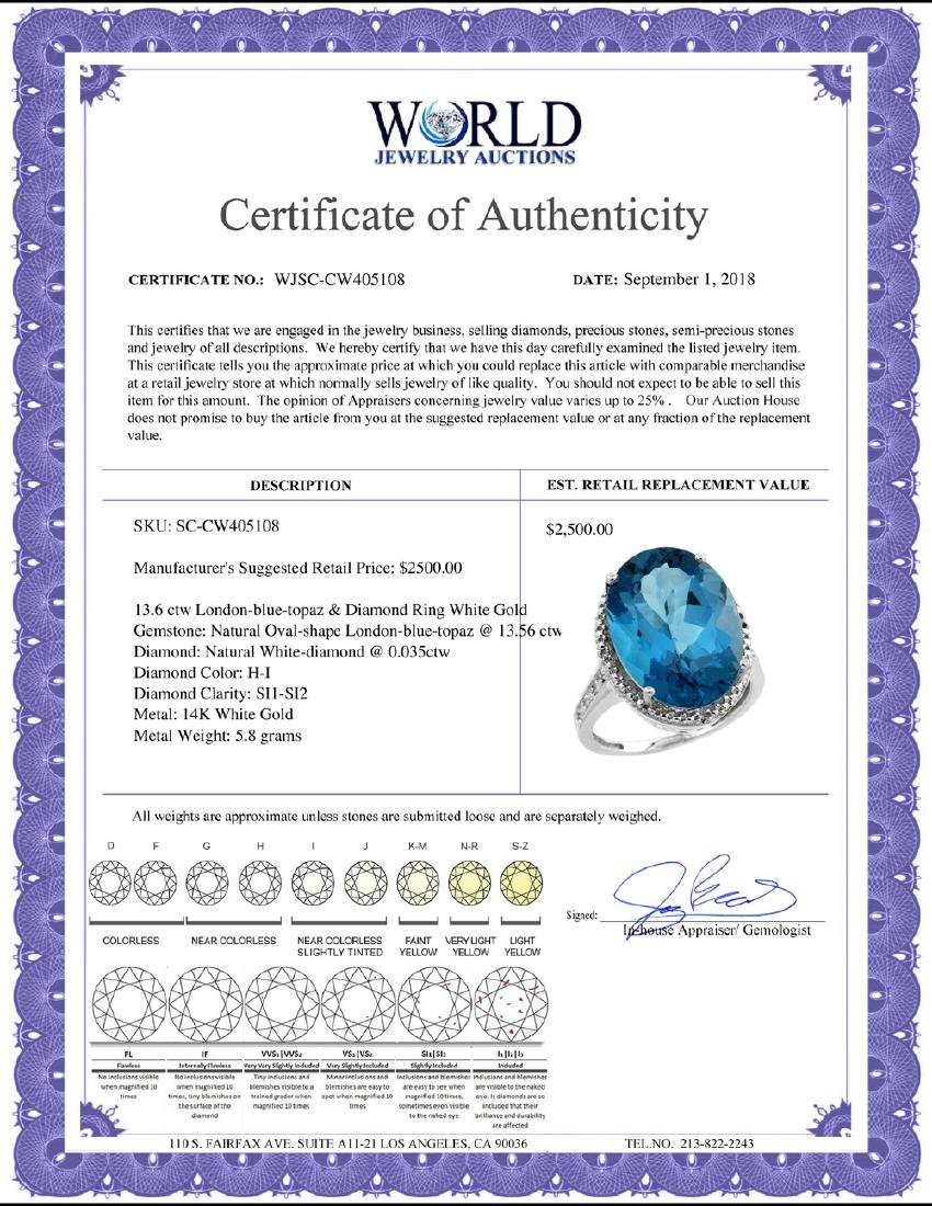 Natural 13.6 ctw London-blue-topaz & Diamond Engagement - 2