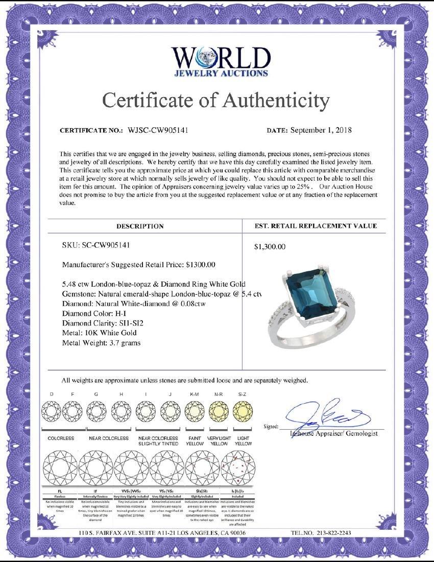 Natural 5.48 ctw London-blue-topaz & Diamond Engagement - 2