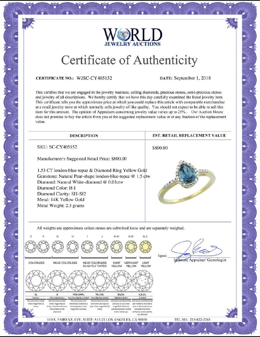 Natural 1.53 ctw london-blue-topaz & Diamond Engagement - 2