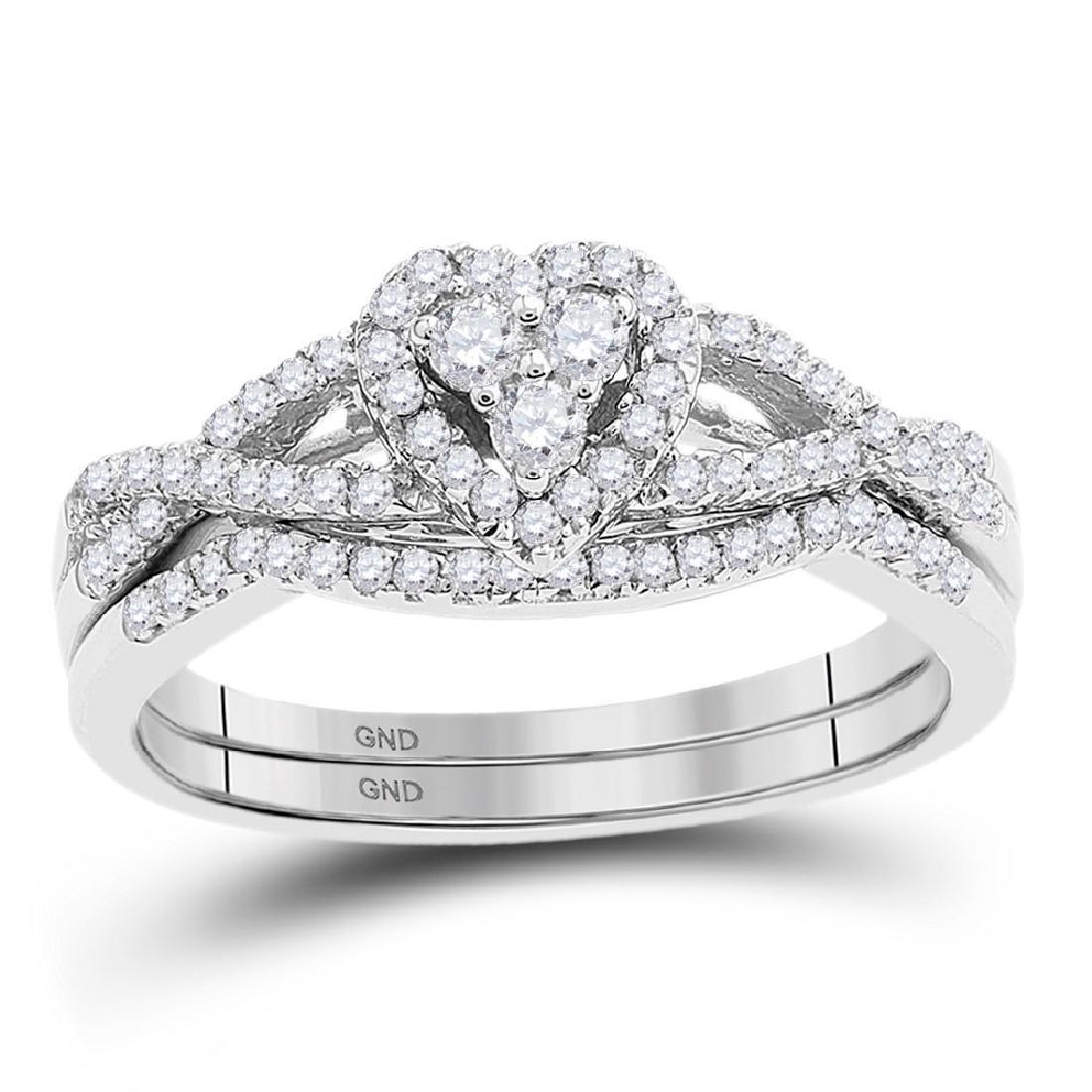 0.38 CTW Diamond Heart Bridal Engagement Ring 10KT