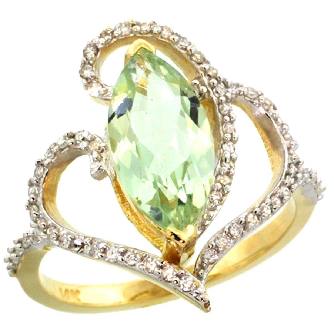 Natural 3.33 ctw Green-amethyst & Diamond Engagement