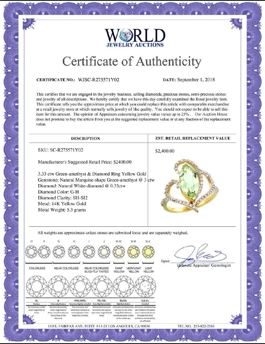 Natural 3.33 ctw Green-amethyst & Diamond Engagement - 2