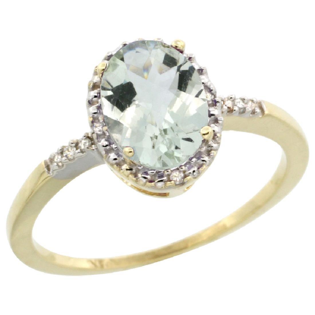 Natural 1.2 ctw Green-amethyst & Diamond Engagement