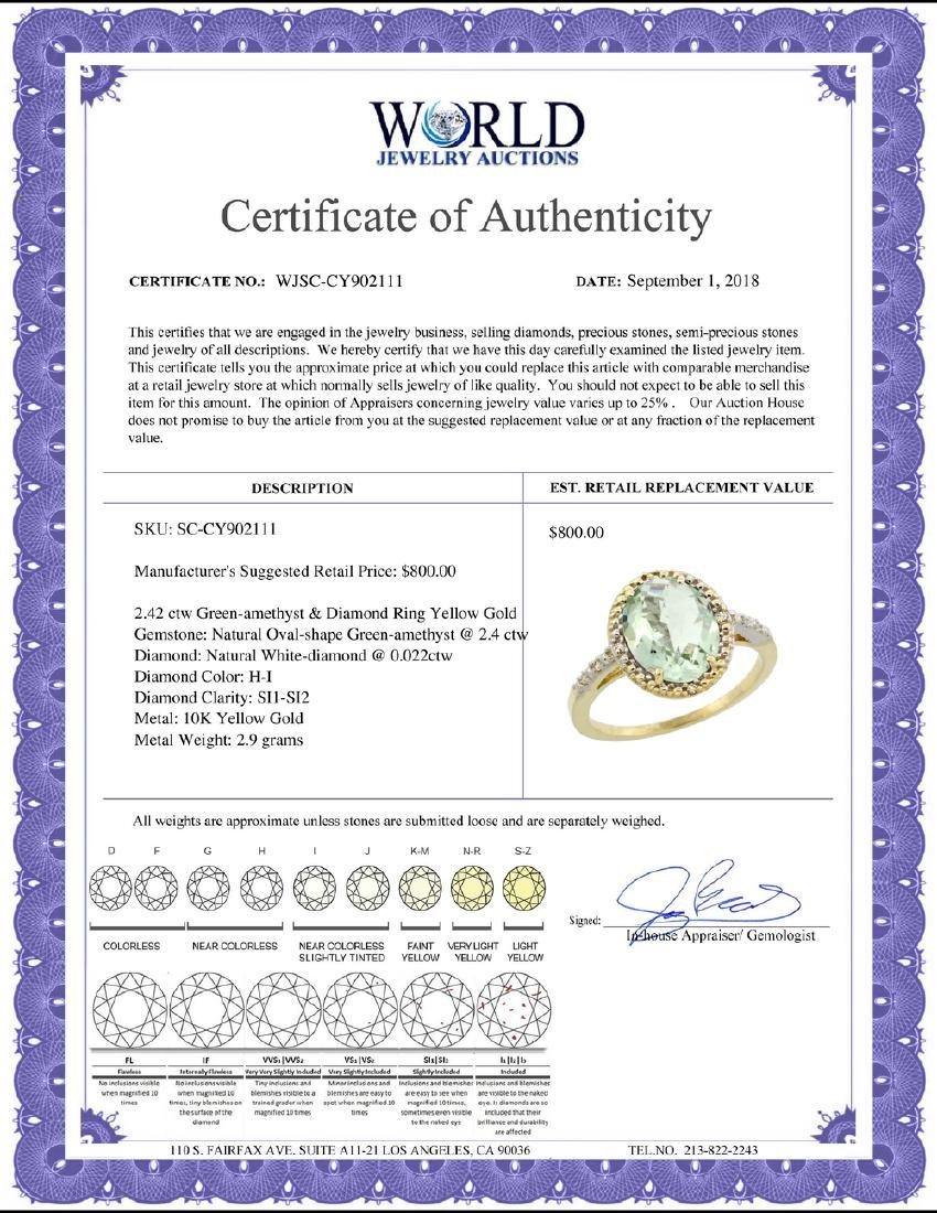 Natural 2.42 ctw Green-amethyst & Diamond Engagement - 2
