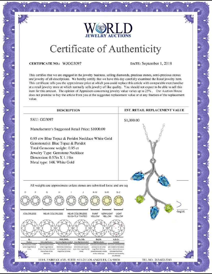 Genuine 0.95 ctw Blue Topaz & Peridot Necklace Jewelry - 2