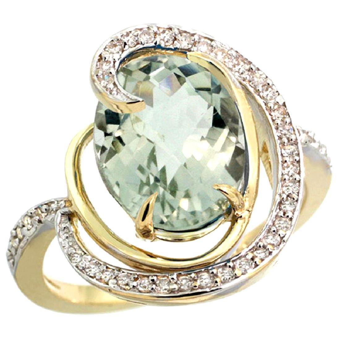 Natural 6.53 ctw green-amethyst & Diamond Engagement