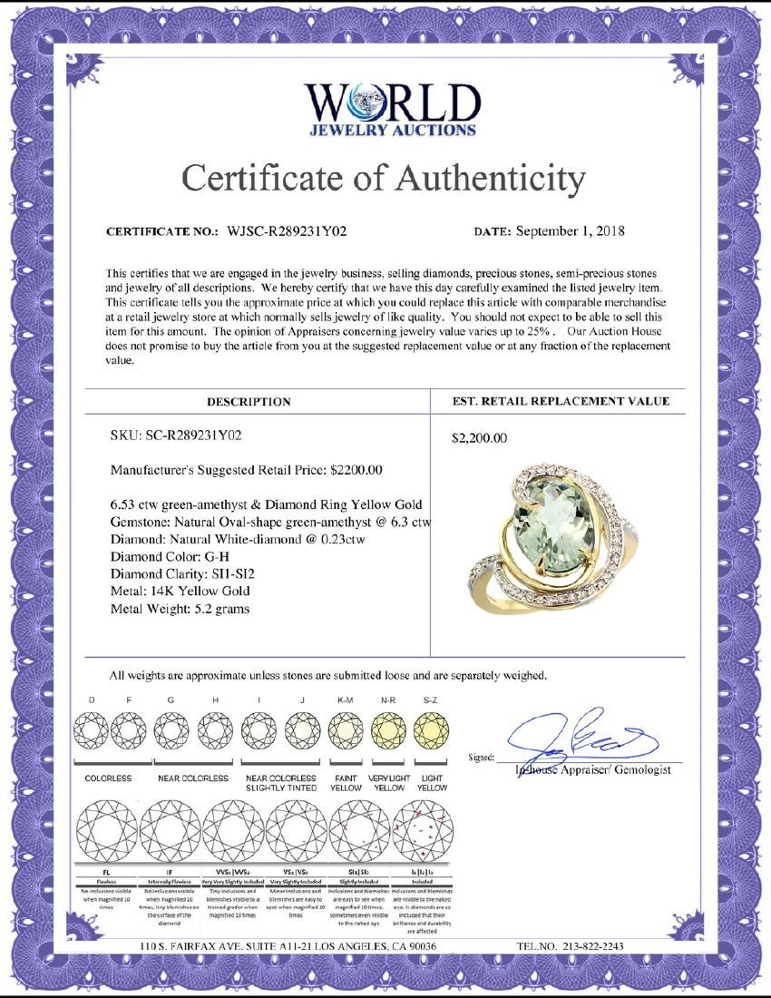 Natural 6.53 ctw green-amethyst & Diamond Engagement - 2