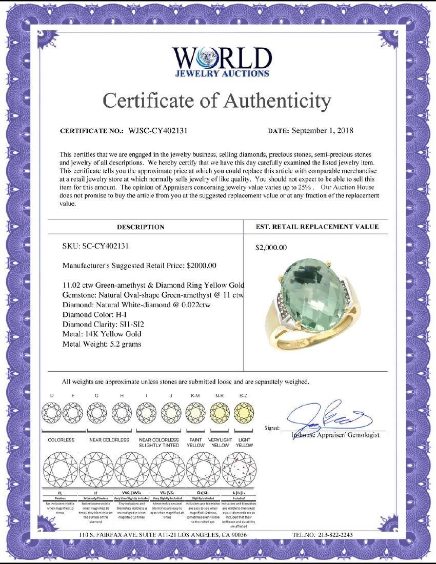 Natural 11.02 ctw Green-amethyst & Diamond Engagement - 2