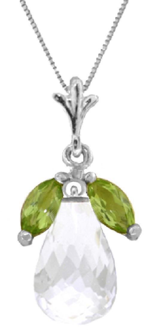 Genuine 7.2 ctw White Topaz & Peridot Necklace Jewelry