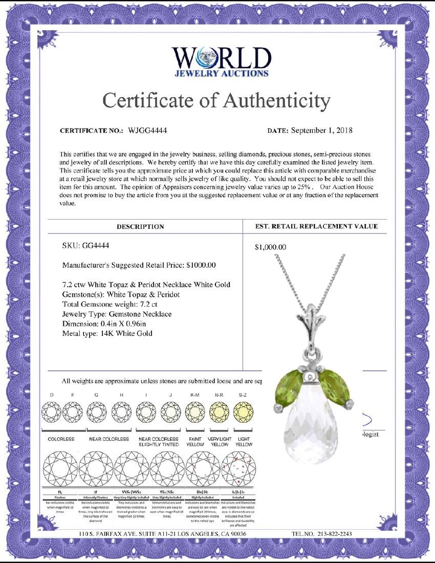 Genuine 7.2 ctw White Topaz & Peridot Necklace Jewelry - 2