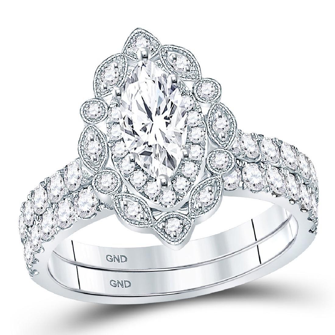 1.99 CTW Diamond Ring 14KT White Gold - REF-511K2W