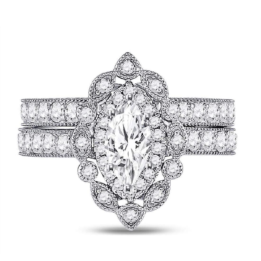 1.99 CTW Diamond Ring 14KT White Gold - REF-511K2W - 2