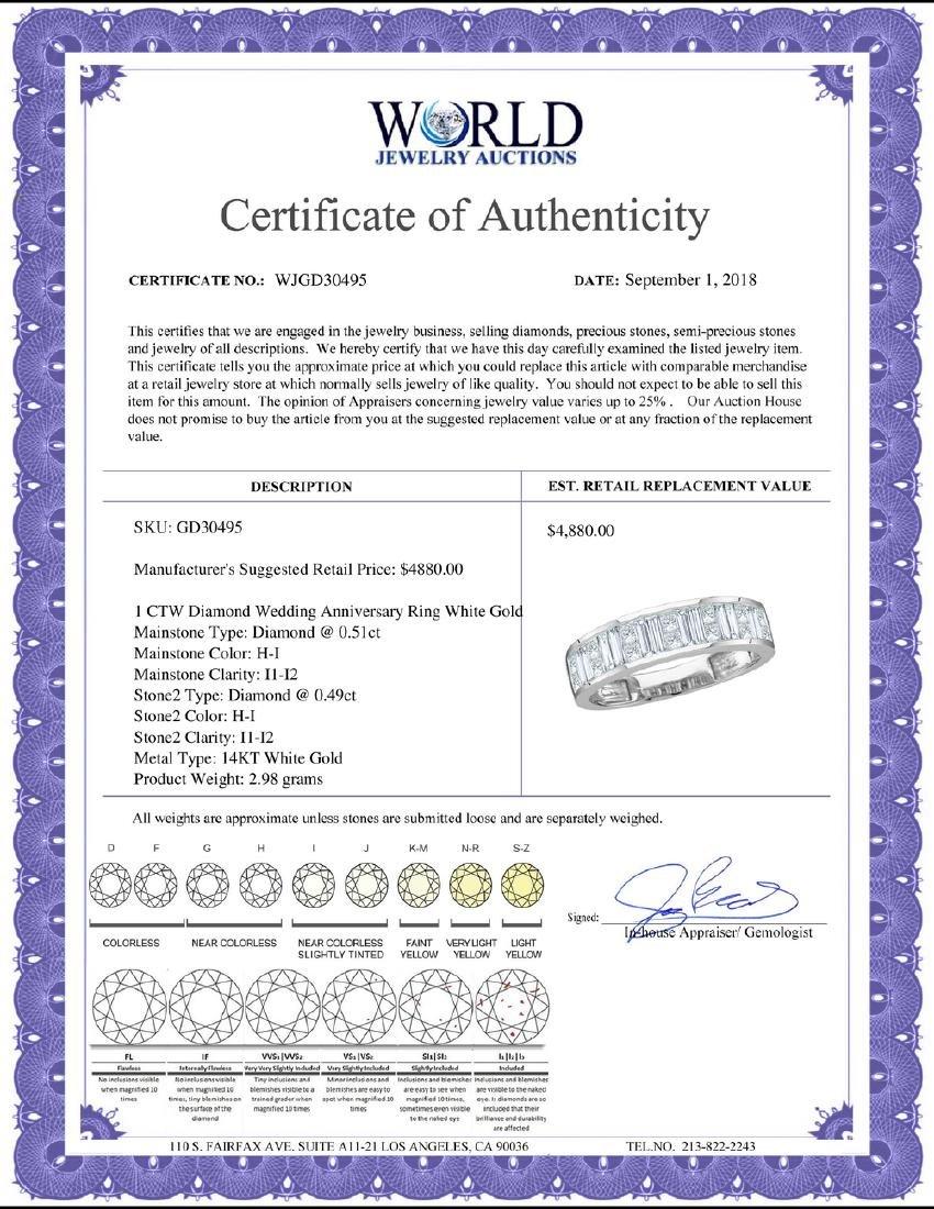1 CTW Diamond Wedding Anniversary Ring 14KT White Gold - 2
