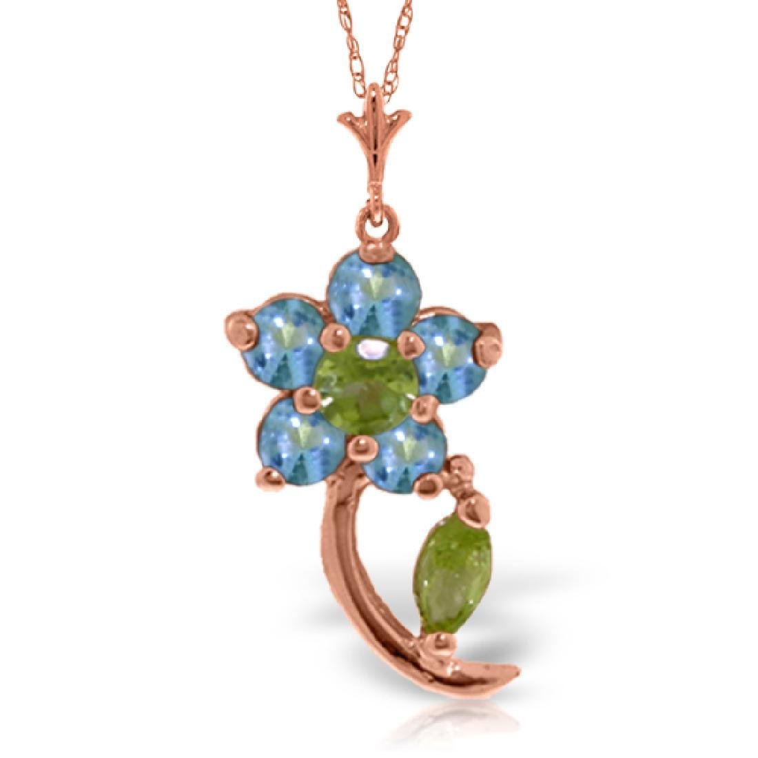 Genuine 0.87 ctw Blue Topaz & Peridot Necklace Jewelry