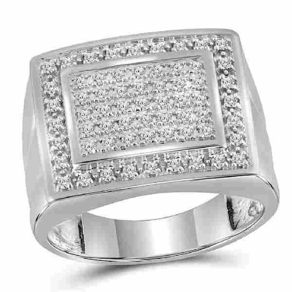 0.50 CTW Mens Diamond Square Cluster Ring 10KT White