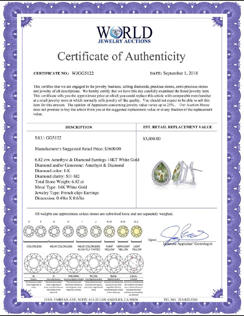Genuine 6.82 ctw Amethyst & Diamond Earrings Jewelry - 2