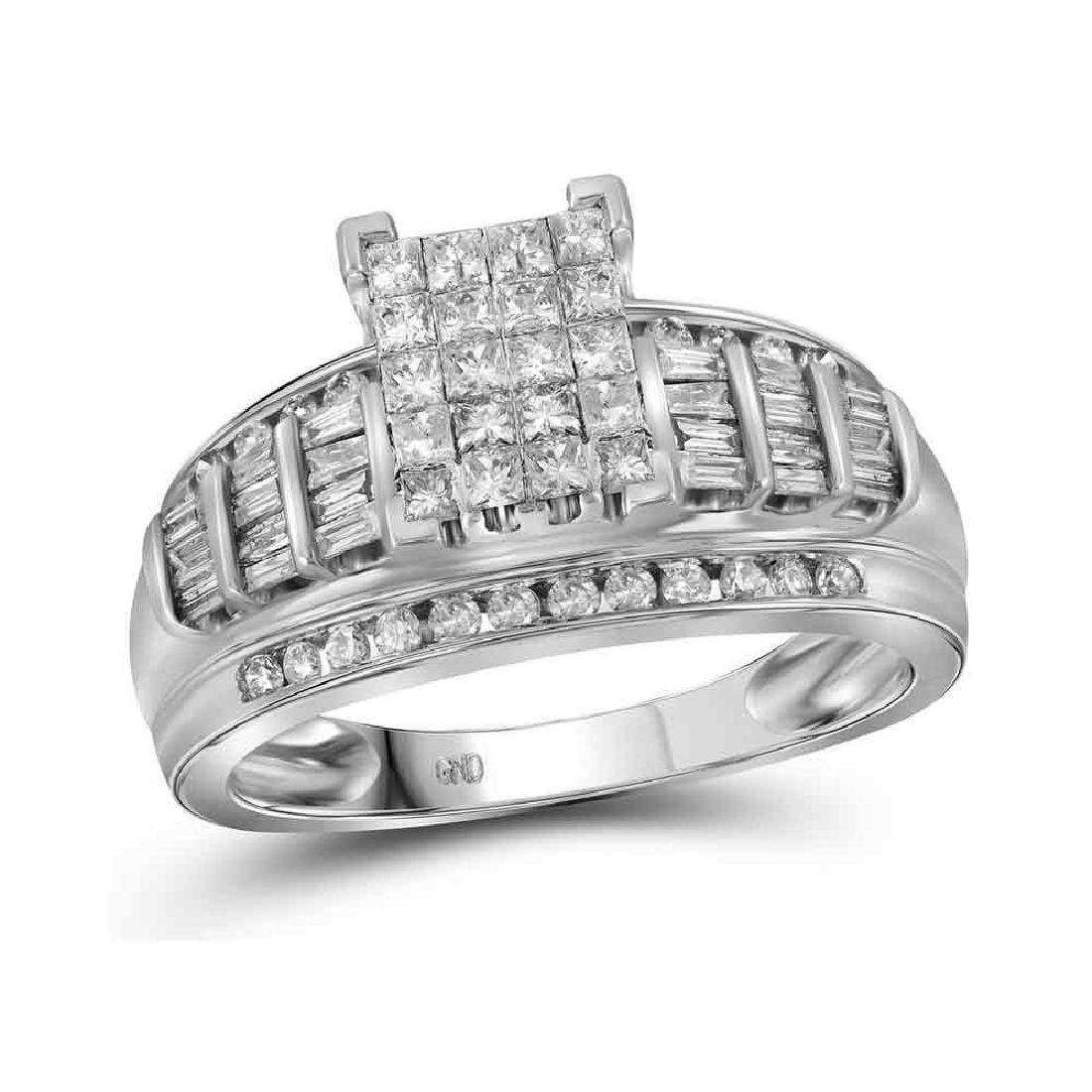 1.01 CTW Princess Diamond Cluster Bridal Engagement