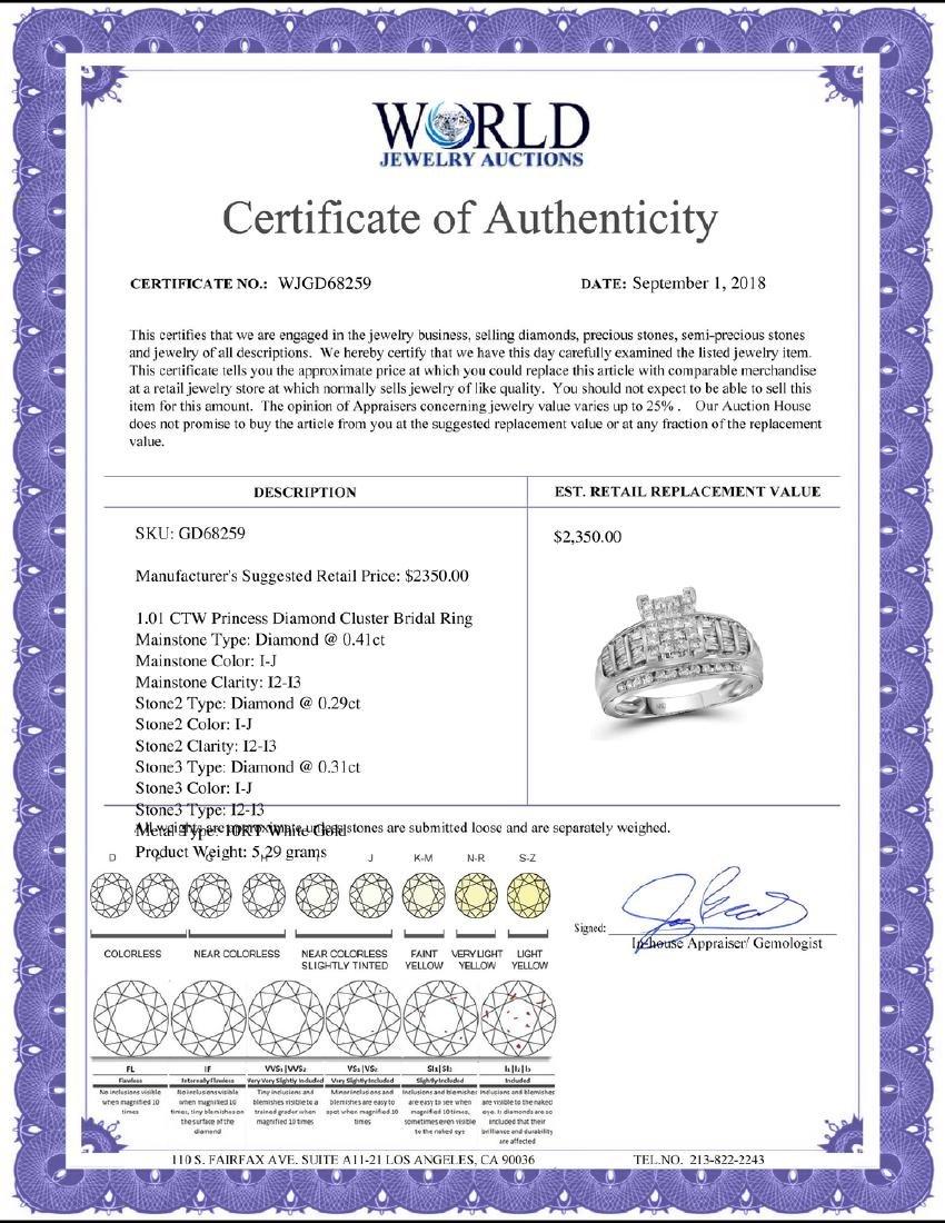 1.01 CTW Princess Diamond Cluster Bridal Engagement - 2