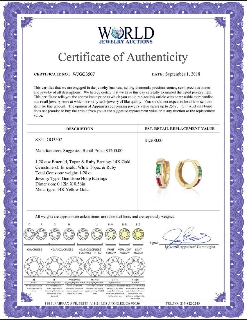 Genuine 1.28 ctw Emerald, White Topaz & Ruby Earrings - 2