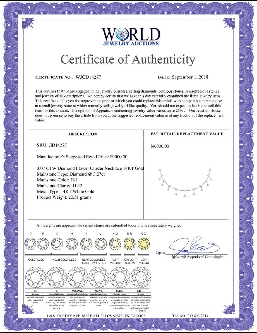 3.07 CTW Diamond Flower Cluster Necklace 14KT White - 2