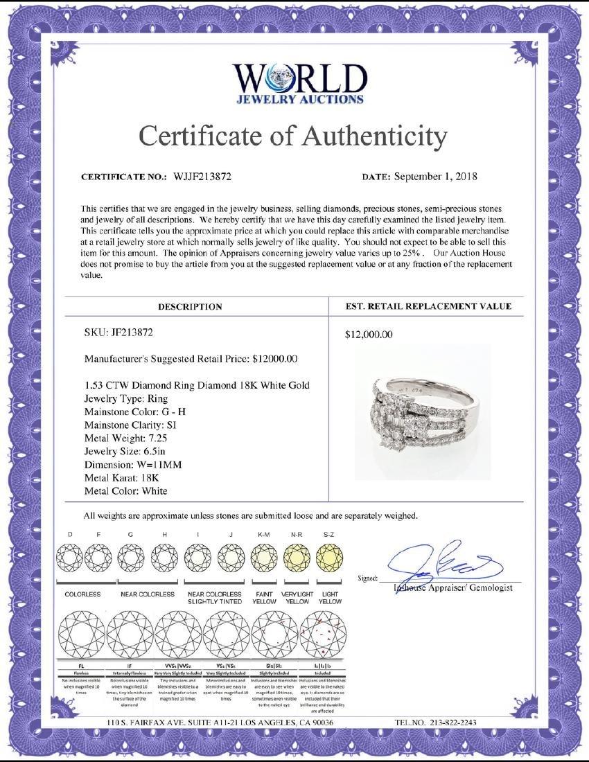 1.53 CTW Diamond Ring 18K White Gold - REF-158K3W - 2