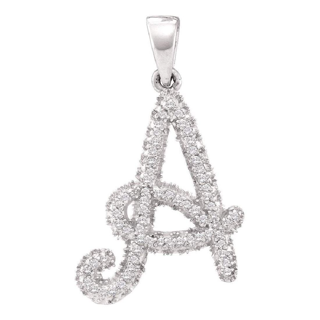0.17 CTW Diamond Letter A Pendant 10KT White Gold -